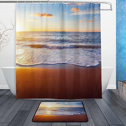 jstel Colorful Sonnenuntergang über dem Meer 3-teiliges Badezimmer Set, maschinenwaschbar für den täglichen Gebrauch, inkl. 152,4x 182,9cm Wasserdicht Duschvorhang, 12Dusche Haken und 1rutschfeste Badezimmer Teppich Teppich - Duschvorhang-sets Meer