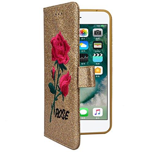WE LOVE CASE iPhone 6 Plus / 6s Plus Schutzhülle Hülle , iPhone 6 Plus 6s Plus Lederhülle Im Retro Style Rose Blume Stickerei Glitzern Funkeln Lila Muster Tasche Handytasche Backcover Stoßfest Protect Golden