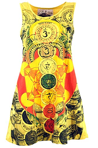 Guru-Shop Mirror Tank Top, Longshirt, Minikleid, Damen, Meditation Om/Gelb, Baumwolle, Size:M (38), Bedrucktes Shirt Alternative Bekleidung - Crinkle-tank-top
