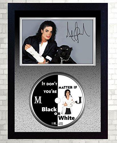SGH SERVICES Michael Jackson unterzeichnet gerahmtes Foto CD Disk Schwarz Oder Weiß Perfekte Geschenk (Framed Jackson Photo)