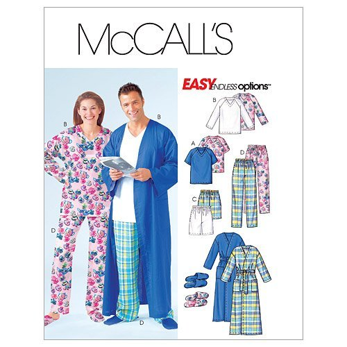 mccalls-patterns-m4320-misses-mens-teen-boys-robe-belt-tops-shorts-pants-and-slippers-size-z-lrg-xlg