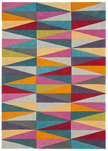 Asiatic Teppich Wohnzimmer Carpet modern Design Funk Triangles Runner Rug 100% Neuseeländische Wolle 200x300 cm Rechteckig Mehrfarbig | Teppiche günstig online kaufen