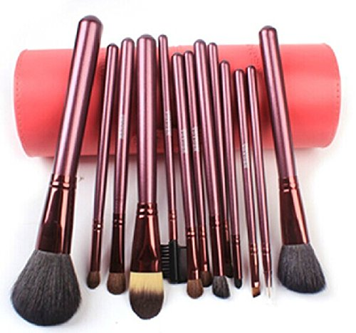 Megaga Makeup Brushes-Studio Quality Natural Cosmetic Brush Set with cup Holder Leather Case , 13 Count (Pink) by Megaga Cosmetic