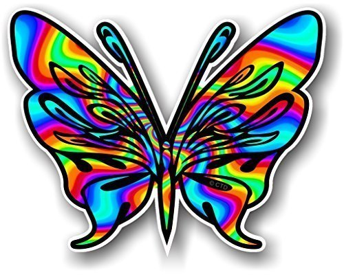 Tribal Schmetterling Design Tattoo Stil mit Psychedelic Bunte Swirl Neuheit Auto-Aufkleber Vinyl Aufkleber 120x 95mm Auto Vinyl-aufkleber Bunt