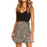Geilisungren Rock Damen Mode Leopardenmuster Blumenmuster Rüschen Mini Glocken Rock Basic Unterrock Underskirt Hohe Taille Schleife Gurt Ausgestellte Skater Skirt