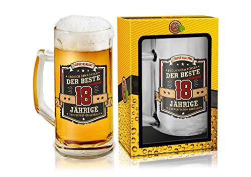 Abc Casa Bierkrug 0,5l mit Aufschrift zum 18. Geburtstag für alle Biertrinker - Aufschrift Der Beste 18 Jährige - originell verwendbares Geschenk für 18-Jährige im Geschenkbox