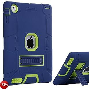 Custodia iPad 4 custodia iPad 2 cover iPad 3 cover silicone BENTOBEN Kickstand robusto 3 IN 1 morbida duro antiurto Rugged Shockproof antiscivola Cover per Apple iPad 2/3/4 Retina,Blu marino/Verde