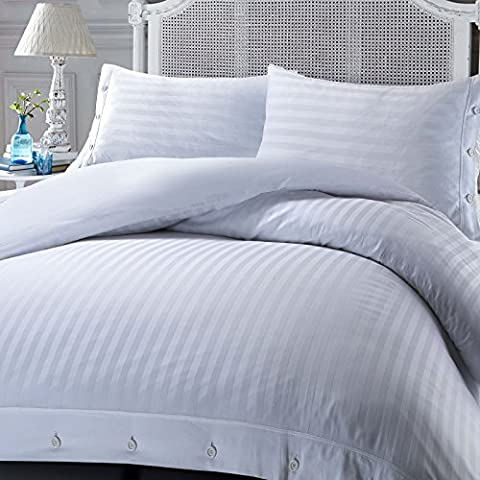 Luxury Hotel Quality 100% Egyptian Cotton 230 Thread Count Stripe Satin Sateen Duvet Cover Set with Cuff & Buttons Closure (White, King)