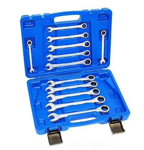 Ratschenschlüssel Satz Ring Maul SchlüsselSet 12 tlg Ratsche Satz 8-19 mm Werkzeug Set Chrom-Vanadium-Stahl in Profi-Qualität
