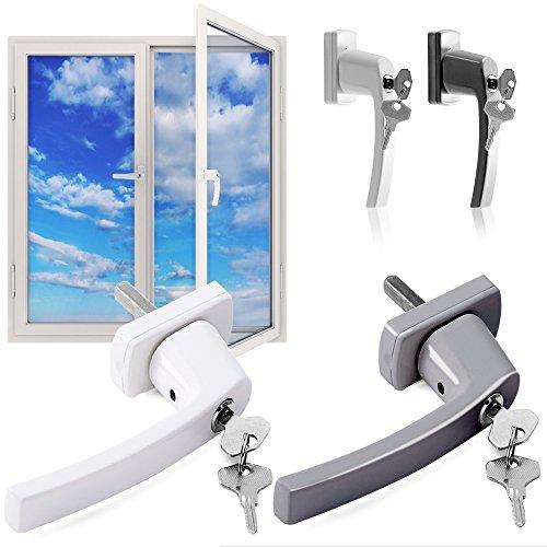 Fenstergriff abschließbar Silber oder Weiß Sicherheitsfenstergriff Schloss Kindersicherung Fenstergriffe