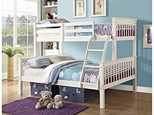 Right Deals UK Novaro PINEWOOD Triple Bunk Bed in WHITE or PINE - Three Sleeper - Triple Sleeper