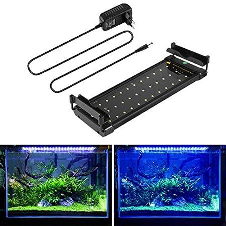 BELLALICHT Aquarium LED Beleuchtung, Aquariumbeleuchtung Lampe Weiß Blau Licht 6W/11W/18W mit Verstellbarer Halterung…