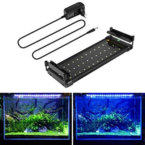 BELLALICHT Aquarium LED Beleuchtung, Aquariumbeleuchtung Lampe Weiß Blau Licht 6W mit Verstellbarer Halterung für 30cm-45cm Aquarium (Aquarium Beleuchtung 30 Cm)