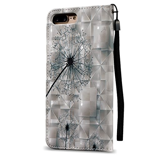 Ekakashop Per Custodia iphone 7 plus, Cover per iphone 7 plus 5.5 pollici, Elegante Colorato 3D Embossed Pattern borsa Custodia in Pelle Protettiva Forte Strong Magnetica Flip Portafoglio libro Case C Dente di leone