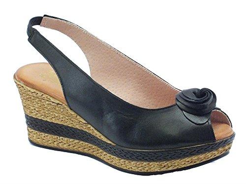 Sandali Mercante di Fiori per donna in pelle colore nero zeppa media (Taglia 35)