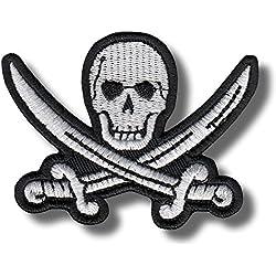 Pirata Calavera–hierro/para coser en parche, 8x 6cm