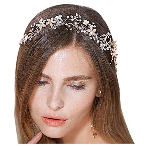 Brautschmuck Vintage Kristall Pearl Vine Haarbänder Hochzeit Haar Zubehör Gold