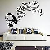 (120 x 81 cm Wandtattoo Wandsticker Music is life Inspiration/Kopfhörer mit Text für Künstler, Musiker und Sänger werden profitieren, Home Art Sticker/Wandaufkleber, Vinyl, personalisierbar, in Geschenkbox, inklusive zufällig