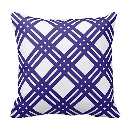 Violet and White Trellis Design Decorative Pillow Case Covers Geometric Lattice Pattern for Sofa Two Sides 16X16 Inch (White Trellis)