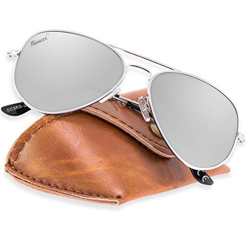 Rivacci Gafas de Sol Aviador Hombre Mujer Polarizadas - Marca Retro/Vintage - Lentes Piloto Deportivas Espejadas - Plata/Espejo Plateada Polarizado