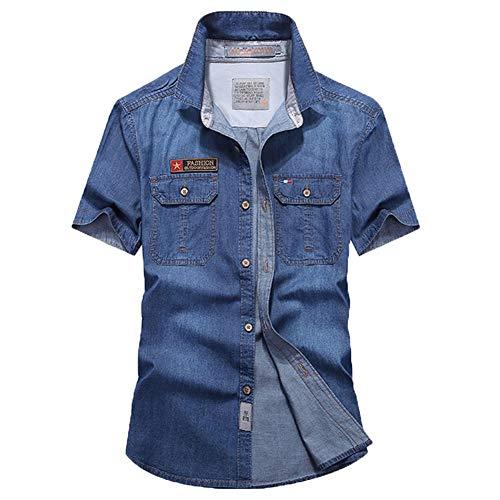 Camisa Vaquera de Manga Corta Hombres Básica Top Clásico Casual Tallas Grandes Azul M