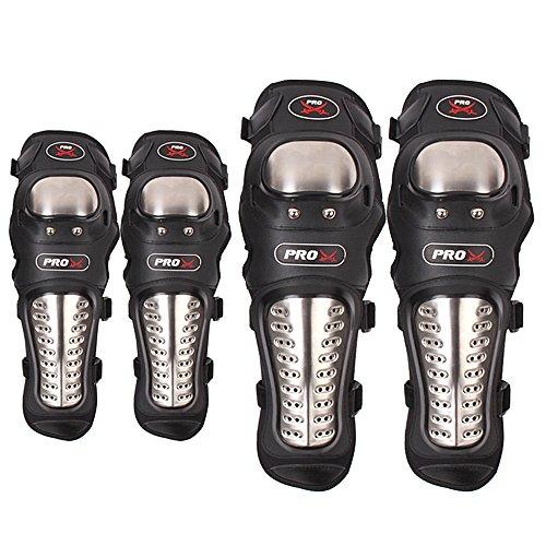 GES 4Pcs Kit Erwachsene Legierung Stahl Ellenbogen Knee Shin Guard Pads schützen Rider für Motorrad Bike ATV Motocross (Langer Abschnitt)