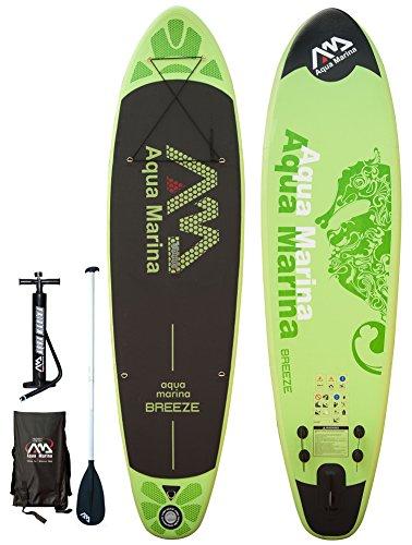 ISUP Aqua Marina Breeze - Stand Up Paddle Board inkl. Pumpe, Alu-Paddel + Tasche (Paddle Board Tasche)