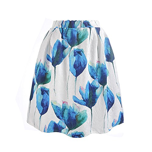 Jiayiqi Femme Taille Haute Vintage Jacquard Flare Plissé Jupe Midi Swing Tulipe Bleu