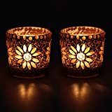 EarthenMetal Glass Handcrafted Mosaic Shaped Decorated Tealight Holder (White and Gold, 5.5x5.5x5cm) - Set of 2