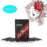 Applikatoren Lippenstift,Luollove 100 Stück Lip Gloss Pinsel Nicht fusselnd und Hygienisch,Lippenstift Pinsel Für ein perfektes Aussehen(Schwarz)