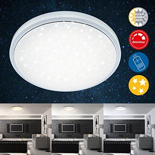 Dimmbare Led-leuchten (Briloner Leuchten LED Deckenleuchte, Dimmbar, Farbton Einstellbar: Warm Kalt Deckenlampe Inkl. Nachtlicht-Funktion, Timerfunktion, Fernbedienung, D: 38.5 cm, 24W, Metall, Integriert, 24 W, Weiß, 38.5 x 38.5 x 8.3 cm)