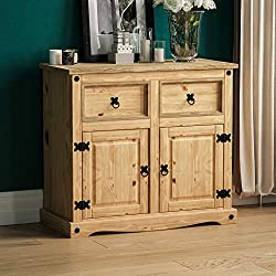 Vida Designs Corona Sideboard, 2 Door 2 Drawer, Solid Pine Wood