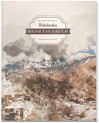 DÉKOKIND Reisetagebuch zum Selberschreiben   DIN A4, 100+ Seiten, Register, Vintage Softcover   Auch als Abschiedsgeschenk   Motiv: Abstract Village
