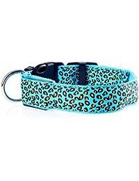 photovie batería noche LED iluminación leopardo patrón Durable Nylon Cuello para más tamaño Perros, azul