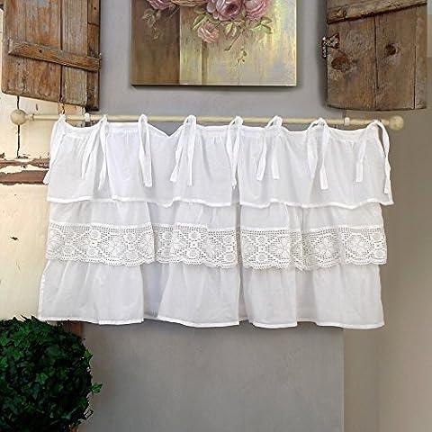 Vorhang Gardine Scheibengardine Bistrogardine mit drei Rüschen Landhaus Shabby Chic - Rüsche Volant / Häkelspitze - 130x60 - Weiß - 100% Baumwoll