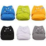 BESTOBABY Baby Pocket Cloth Diapers 6 Pack With 6 Inserts Adjustable Washable And Reusable Diapers Fitted For Baby Girls And Baby Boys