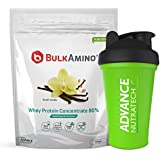 [Sponsored]Advance Nutratech BulkAmino Whey Protein Concentrate 80% Raw Powder Nutrition Supplement – 500 Gms – Vanilla Flavored...
