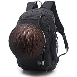 txxci baloncesto mochila para portátil de 15,6bolsa de hombros con Red de baloncesto usb puerto de carga, negro