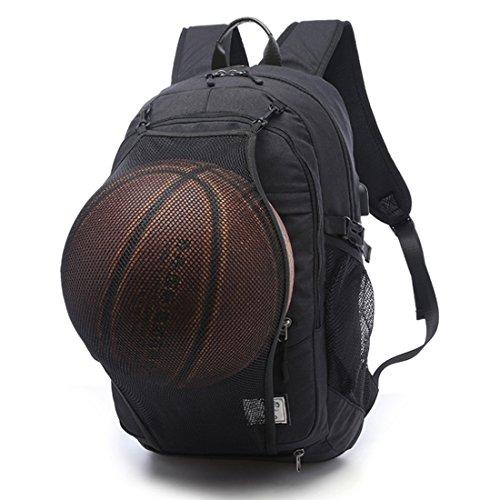 TXXCI Basketball Rucksack 15,6-Zoll-Laptop-Schulter-Beutel mit Basketball-Netz USB-Anschluss aufladen-Schwarz