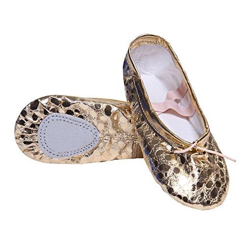 DoGeek Pailletten Ballettschuhe weich Ballet Trainings Schläppchen Balletschläppchen für Mädchen/Damen Größen 25-40 (Gold,Silber) (Erstaunlich Kostüm Mädchen)