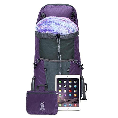35L Tagesrucksack Faltbare Rucksack mit Wanderrucksack Fassungsvermögen aus Strapazierfähigem Nylon Daypack Unisex Lila