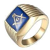 Quoouz Uomini Semplice Oro Blu AG Logo Massonico Titanio Acciaio Anelli,Taglia 17
