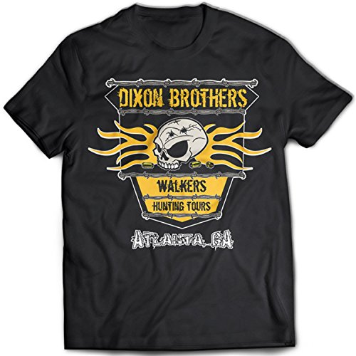 9060 Dixon Brothers Herren T-Shirt The Walking Dead Walkers Zombies Apocalypse Hershel's Farm Schwarz