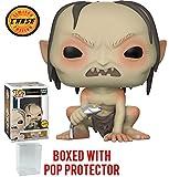 FunKo Pop! Películas: El Señor de los Anillos - Gollum con Fish CHASE Variant Edición Limitada Figura de Vinilo (Liado con Pop Box Protector Case)