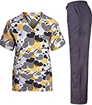 MedPro Women's Printed Medical Scrub Set Mock Wrap Top and P