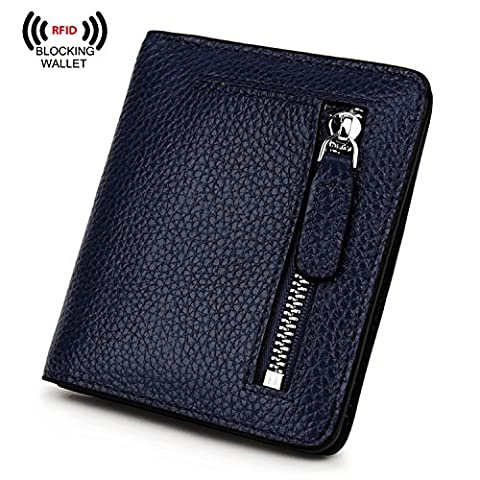 AINIMOER RFID Blocking Women's Leather Clutch Wallet Card Case Purse with Zipper Pocket(Navy Blue)