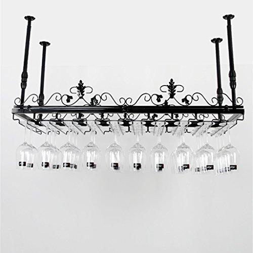 Etagère à bouteille Montage mural Métal Porte-verres Modèle Plafond Monté Porte-Bouteille de Vin Fer Verre Unité de Rangement en Verre pour Bars/Salon-Noir | L100xW35cm (Couleur : NOIR)