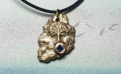 Bijou celtique/wicca/breton, pendentif unisexe, Météorite en bronze couleur or avec yggdrasil, arbre de vie celte et 1 CZirconia carré bleu, cuir noir, pièce unique, pour hommes et femmes