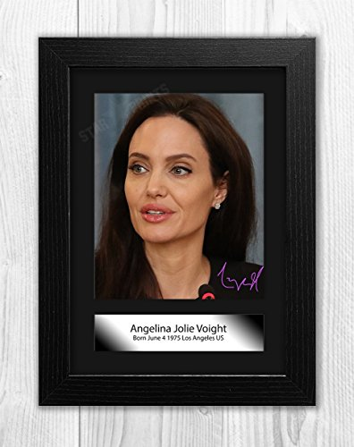 Angelina Jolie Poster Signed Autograph Reproduction Photo A4 Print (Black Frame)