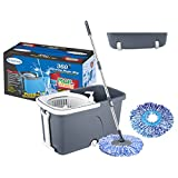#6: Primeway Magic Mop on 2 Wheels with Pull Handle, Water Outlet, Liquid Dispenser, 2 Microfibre Refills 38cm, 7.5 Ltr, Grey